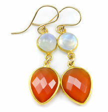 Carnelian Earrings Long Teardrops Rainbow Blue Moonstone 14k Gold Fill Bezel