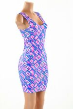 SZ LARGE Geometric Print Sexy UV Glow Clubwear Rave Bodycon Tank Stretchy Dress