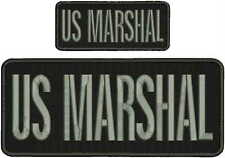 US MARSHAL embroidery patch 4x10 &2X5 hook velcro on back gray letters