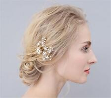 Gold Crystal Bridal Hair Cilp Flower Rhinestone Headdress Wedding Accessories