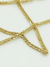 "14k Yellow Gold High Polish Square Box Wheat Necklace Pendant Chain 16"" 1.8mm"