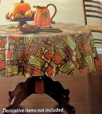 "Tablecloth Happy Harvest Pumpkin Leaf Design Vinyl 52 X 70"" Rectangle"