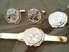 United Nations White UN Cufflinks, Badge, Tie Clip Military Gift Set