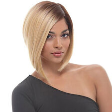 HOT Bob Style Short Oblique A Line Light Blonde Dark Root Ombre Wig
