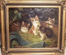 Lge Framed Vintage Oil Painting Kittens Cats in Basket Victorian Signed A, Mauve