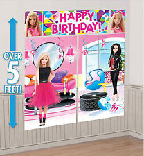 BARBIE DOLLS SPARKLE Scene Setter HAPPY BIRTHDAY party wall decoration kit 5'