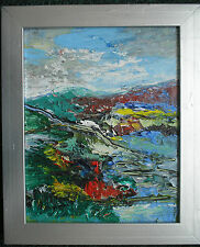ORIGINAL ABSTRACT CONTEMPORARY LANDSCAPE PAINTING ON WOOD free postage
