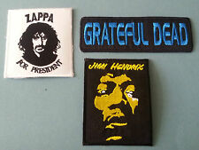 SET OF THREE MUSIC SEW/IRON ON PATCHES:- GRATEFUL DEAD JIMI HENDRIX FRANK ZAPPA