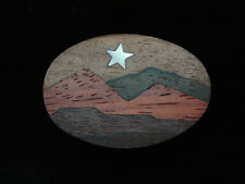 QB13111 VINTAGE 1970s **STAR OVER MOUNTAINS** ABALONE & WOOD INLAYS BELT BUCKLE