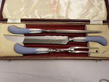 Wedgwood Pale Blue Solid Jasper Ware 3-Piece Carving Set W/Box
