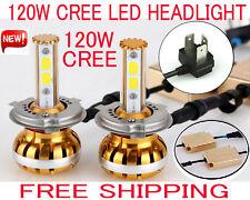 NEW H4 120W CREE LED Headlight Kit H1 H13 H7 H11 6000K White Car Bulb Lamp Light