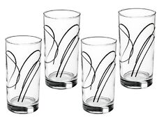 4 Corelle SIMPLE LINES 16-oz Glass GLASSES Hi-Ball Weighted TUMBLERS Black *New