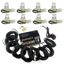 160W 8 White HID Bulbs Hide A Way Emergency Hazard Warning Strobe Lights System