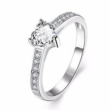D/VVS1 Diamond Engagement Ring 1 Carat Heart Shape 14k White Gold Bridal Jewelry