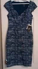 NEW $120  ADRIANNA PAPELL Cap Sleeve Scuba Dress 6 Navy Ivory Graduation Wedding
