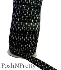 Designer 3 Yards 5/8 Print Fold Over Elastic FOE - Cross