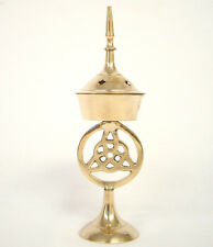 """7"""" High Triquetra Brass Incense Cone Resin Charcoal Burner altar Wicca Spell"""