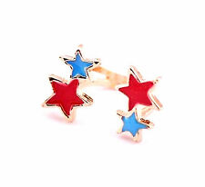 Elegant Charm Red Blue Enamel Stars Gold Plated Jewelry Ring for Women men Gifts
