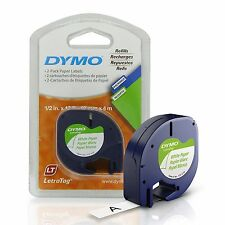 """Dymo 10697 White Paper Refill Tapes 2 Pack 1/2""""x13ft 2 rolls LetraTag"""