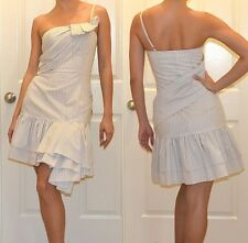 New $368 Betsey Johnson White Pin Stripe One-Shoulder Corset Dress 4 S