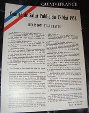 COMITE SALUT PUBLIC 1958 - ALGERIE FRANCAISE