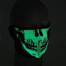 Glow in Dark Skull Half Neoprene Face Mask Biker ATV Ski Costume Paintball Black