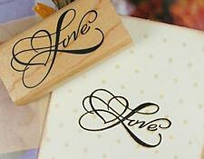 LOVE w/ Heart Wooden Stamp Rubber Craft Favour Scrapbooking Wedding Party