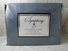 NEW PCT Symphony 1200 Thread Count Egyptian Cotton Sheet Set Cal King Slate Blue