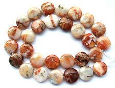 Red Bamboo Agate Flat Coin/Disc Beads 16mm15""