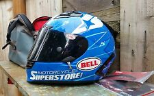 BELL MOTORCYCLE CARBON BLUE/WHITE STAR HELMET SZ SMALL W/CARRYING CASE