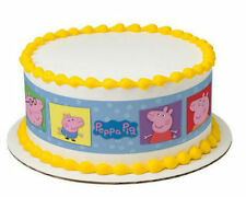 Peppa Pig edible image cake strips frosting topper sides decoration icing #7555