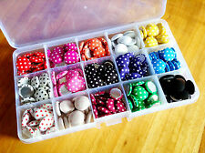 ROUND BUTTONS - fabric covered, polka dot -Mixed colours 15mm GIFT BOX x225