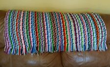 Hand-made Crocheted Afghan Throw Vintage Multi-color Rainbow Knitted Multi-color