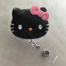 "Hello Kitty 45mm / 1.9"" Retractable Reel ID Badge Holder_black W/ Pink Bow 1pc"