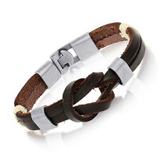 Authentic Tera Jewelry Tribal Leather Wristband Surf Dark Brown Mens Bracelet