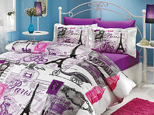 Paris Eiffel/London Themed Quilt/Duvet Cover Set,4 Pcs,Full/Queen,Vintage Purple