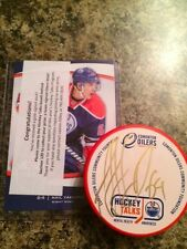 Yakupov 1/1 Mental Health GOLD Autograph Orange Oilers Signed Puck Hockey Talks