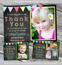 10 Personalised Birthday Christening Baptism Thank You Cards Chalkboard Bunting