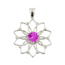 Ladies 925 Sterling Silver Pink CZ Sapphire Lotus Flower Pendant