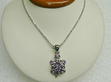 "CUTE PURPLE CRYSTAL STONE TURTLE TORTOISE ON SILVER PLATED CHAIN 16"" 350-P"