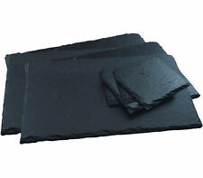 8 Piece New Natural Slate Table Set - 4 Rectangular Placemats 4 Square Coasters