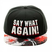 MIRAMAX PULP FICTION SAY WHAT AGAIN! TEXT BLACK SUBLIMATED BILL SNAPBACK HAT CAP