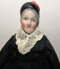 Dollhouse Miniature Doll Victorian Maid in Black Artist  Porcelain 6 inches