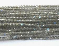 "2 MM FINE MICRO FACETED NATURAL LABRADORITE ROUND BEADS 1 LINE 13"" #D3801-A"