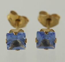 NEW Simulated Tanzanite Stud Earrings - 10k Yellow Gold Women's Square Fashion