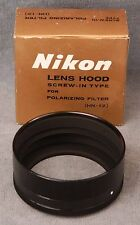 VINTAGE NIKON HN-12 LENS HOOD IN BOX - NOS NIB - FOR 52MM POLARIZER