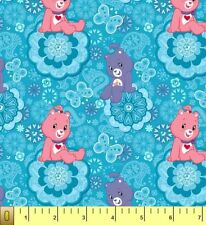 Cute Care Bears Blue Childrens Kids Fleece Fabric Print by the Yard A342.05