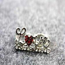 Vintage retro silver tone crystal love and heart double finger ring