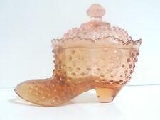 Vintage Art Glass Hobnail Shoe Candy Dish w/ Lid Pink Slipper Covered Rose Boot