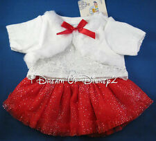 BUILD-A-BEAR WHITE LACE FUR SPARKLES RED SKIRT SET VALENTINE'S TEDDY CLOTHES NEW